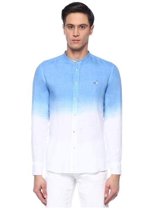 Slim Fit Mavi Beyaz Hakim Yaka Keten Gömlek