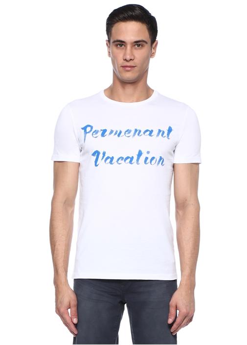 Beyaz Bisiklet Yaka Tatil Sloganlı Basic T-shirt