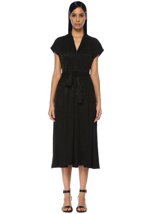 Siyah Apaç Yaka Jakarlı Beli Kuşaklı Midi Elbise