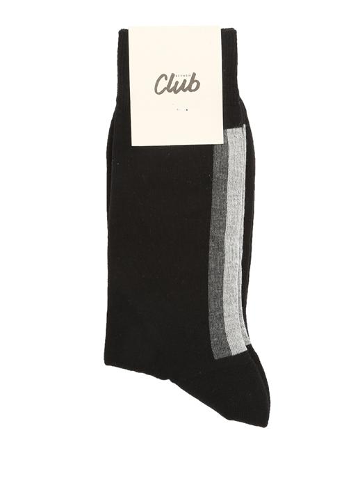 Siyah Logo Jakarlı Şeritli Erkek Çorap