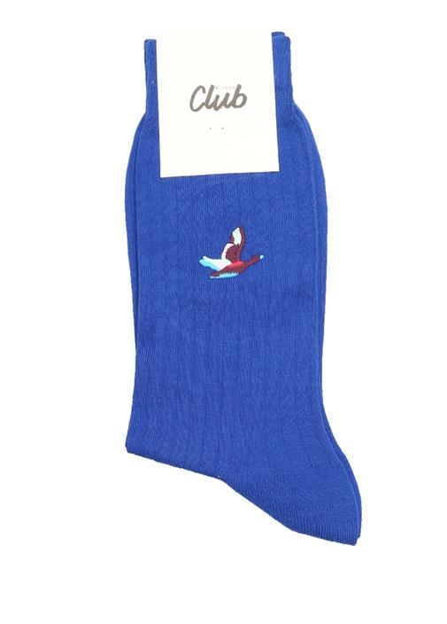 Mavi Logo Jakarlı Ribli Erkek Çorap