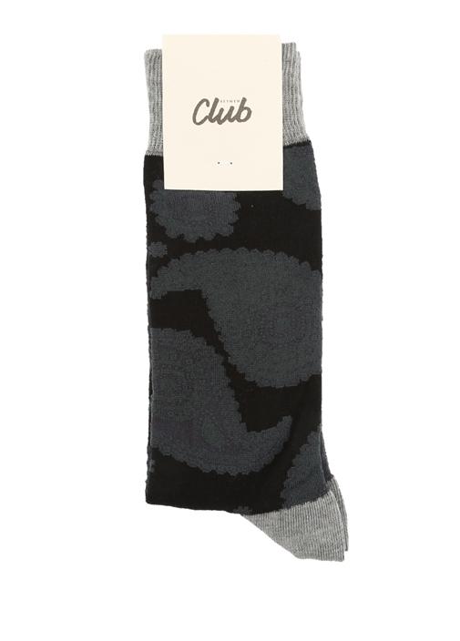Siyah Şal Jakarlı Erkek Çorap