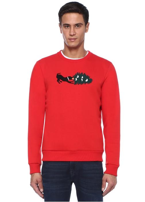 Kırmızı Köpek Nakışlı Sweatshirt