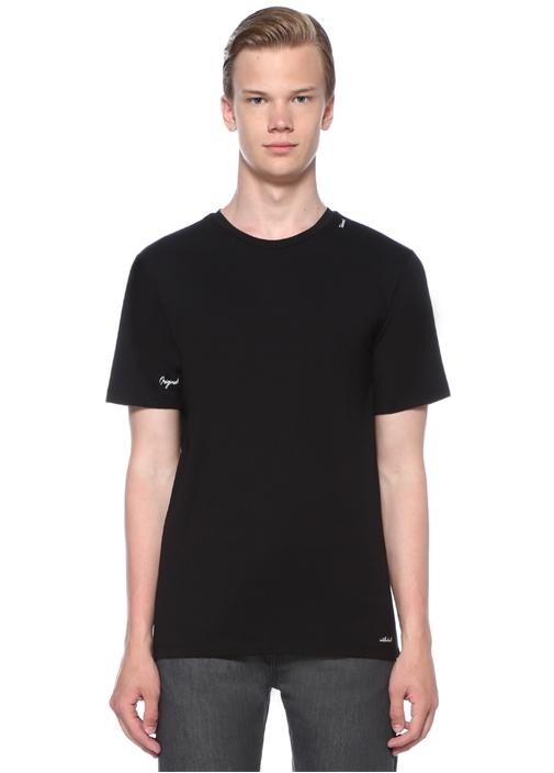 Talented Siyah Yakası Baskılı Basic T-shirt