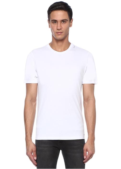 Beyaz Baskı Detaylı Bisiklet Yaka BasicT-shirt