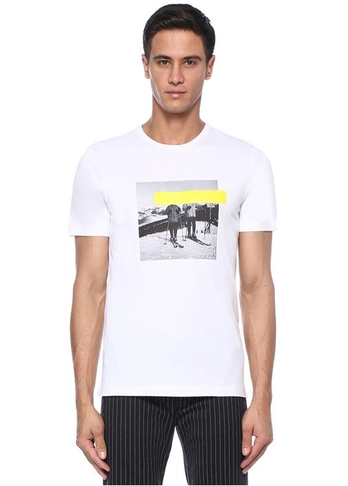 Beyaz Bisiklet Yaka Kayakçı Baskılı Basic T-shirt