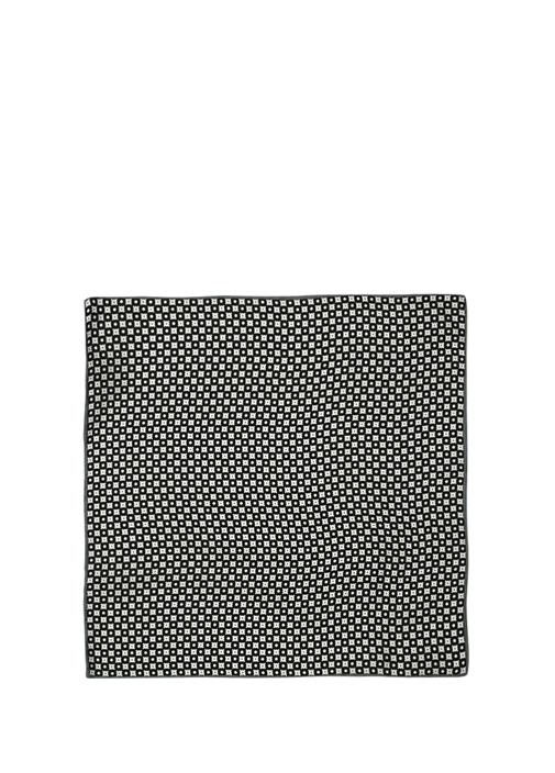 Siyah Beyaz Mikro Çiçek Desenli İpek Poşet Mendil