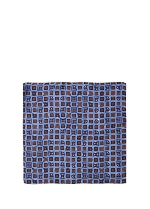 Mavi Mikro Geometrik Desenli İpek PoşetMendil