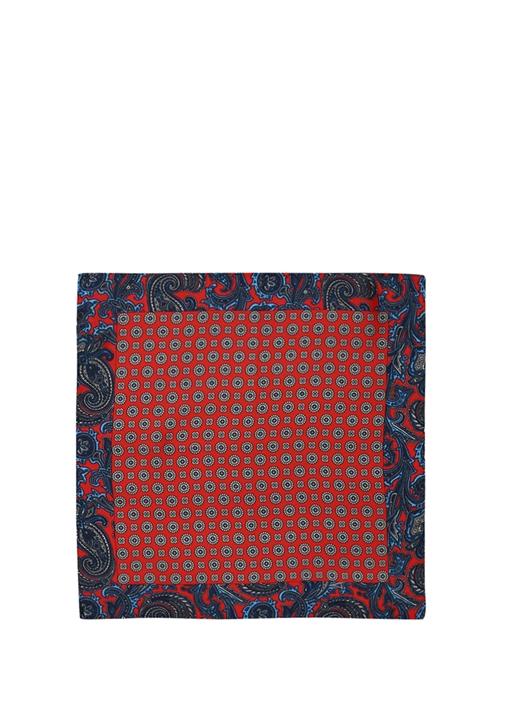 Kırmızı Mikro Geometrik Desenli İpek Poşet Mendil