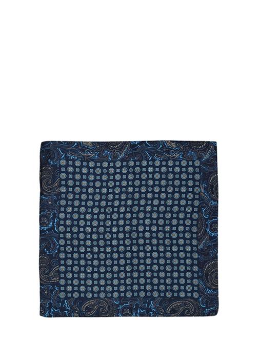 Lacivert Mikro Geometrik Desenli İpek Poşet Mendil