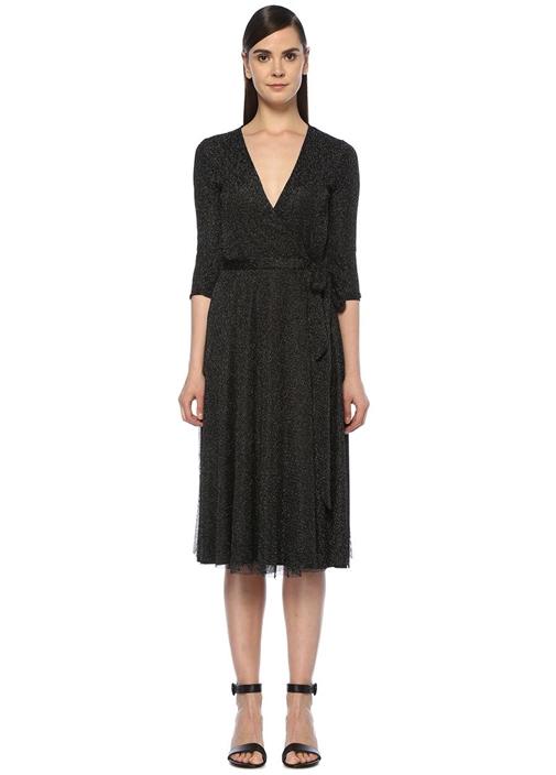 Siyah Simli File Dokulu Midi Anvelop Elbise