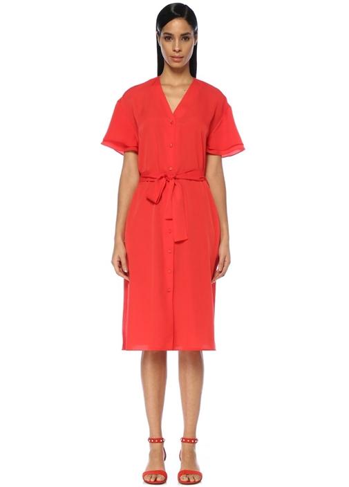 Kırmızı V Yaka Kuşaklı Kısa Kol Midi Gömlek Elbise