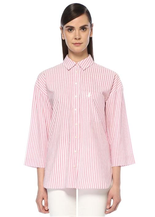 Pembe İngiliz Yaka Çizgili Poplin Gömlek