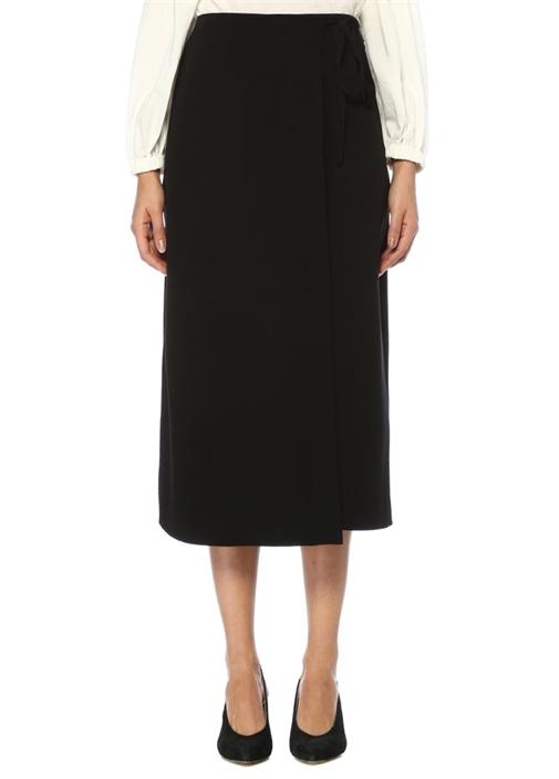 Siyah Anvelop Etek Formlu Krep Pantolon
