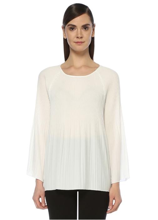Beyaz Pileli Uzun Kol Şifon Bluz