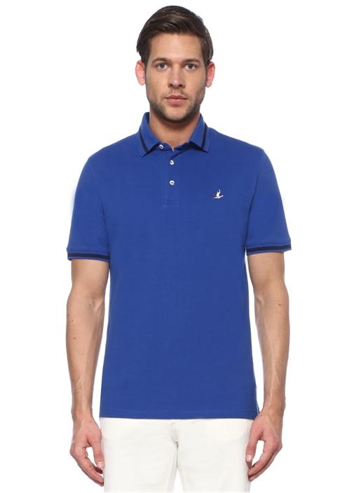 Comfort Fit Mavi Polo Yaka Şeritli T-shirt
