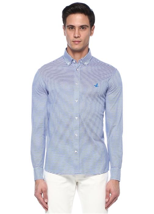 Slim Fit Mavi Beyaz Logo Nakışlı Örme Gömlek