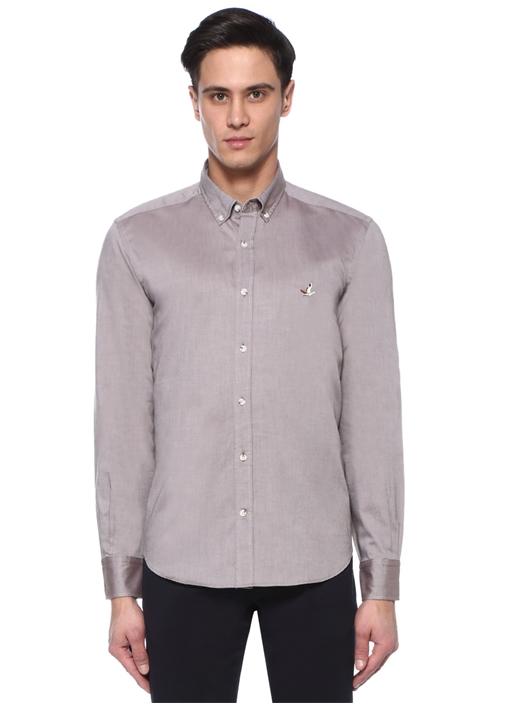 Comfort Fit Kahverengi Düğmeli Yaka Oxford Gömlek