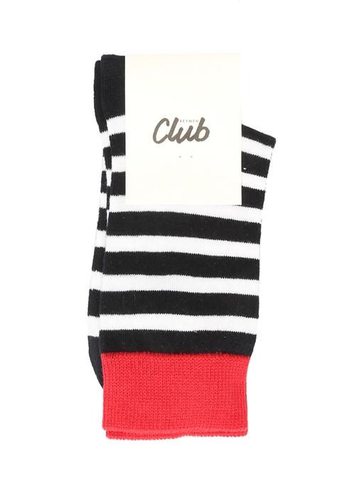 Siyah Beyaz Logo Jakarlı Renk Detaylı Kadın Çorap
