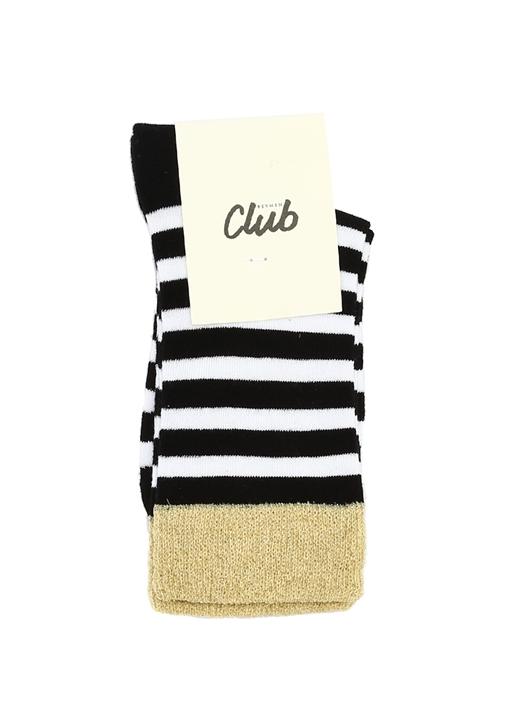 Siyah Beyaz Logolu Sim Doku Detaylı Kadın Çorap