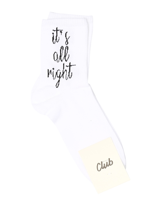 Its All Right Beyaz Logolu Jakarlı Kadın Çorap