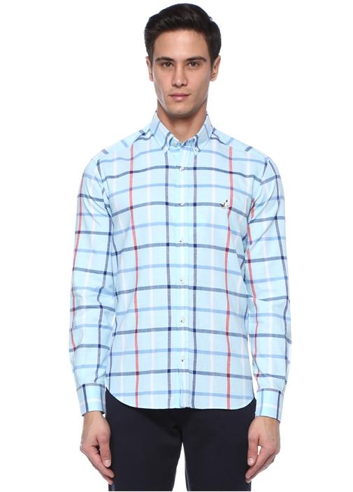 Comfort Fit Mavi Düğmeli Yaka Ekoseli Gömlek