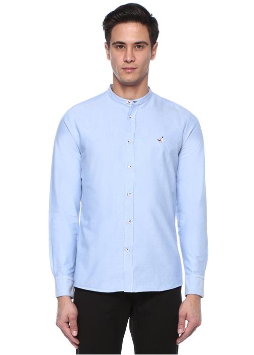 Slim Fit Mavi Hakim Yaka Gömlek
