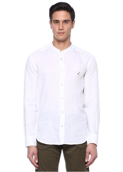Comfort Fit Beyaz Hakim Yaka Logolu Keten Gömlek