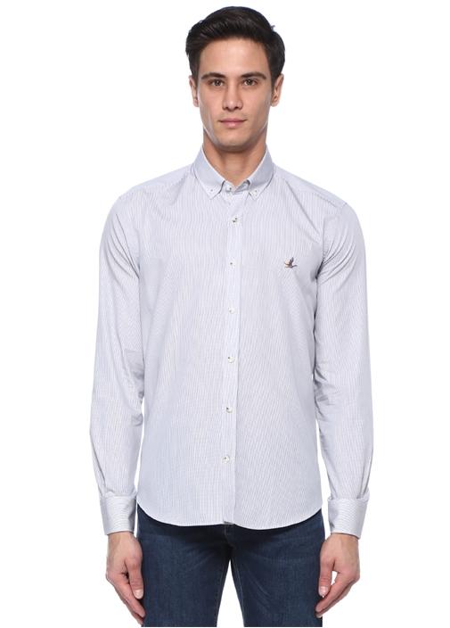 Comfort Fit Düğmeli Yaka Mikro Armürlü Gömlek