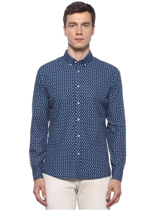 Slim Fit Mavi Düğmeli Yaka Mikro Desenli Gömlek