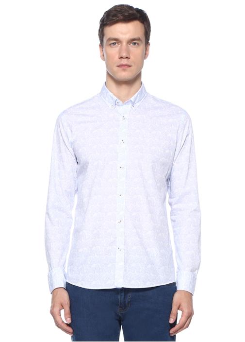 Slim Fit Beyaz Düğmeli Yaka Etnik Desenli Gömlek