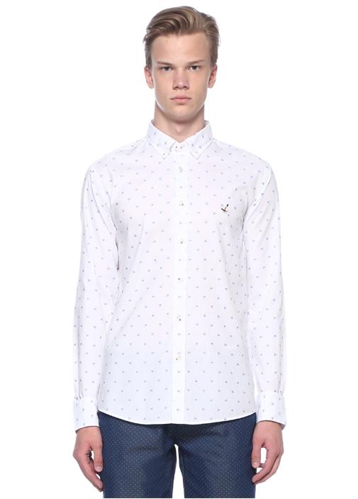 Slim Fit Beyaz Palmiye Nakışlı Gömlek