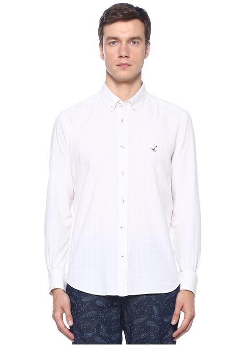 Comfort Fit Beyaz Düğmeli Yaka Kare Dokulu Gömlek