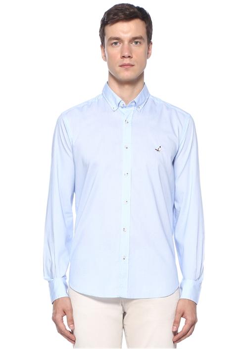 Comfort Fit Mavi Düğmeli Yaka Mikro Desenli Gömlek