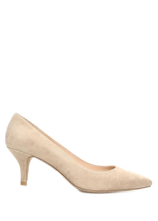 Bej Kadın Süet Topuklu Ayakkabı