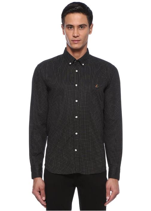 Comfort Fit Siyah Puantiyeli Düğmeli Yaka Gömlek