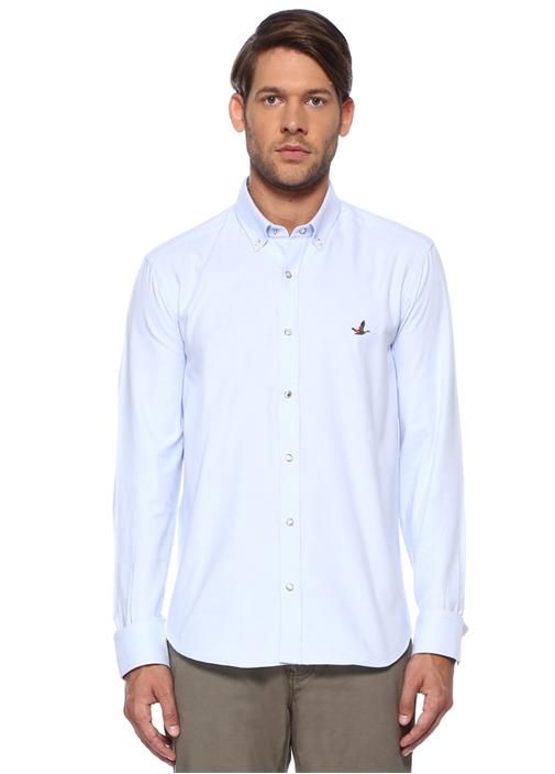 Comfort Fit Mavi Düğmeli Yaka Gömlek