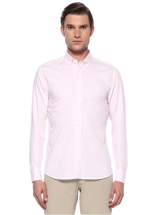 Slim Fit Pembe Düğmeli Yaka Silik Çizgili Gömlek