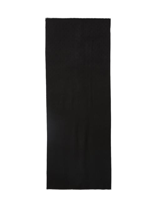 Siyah Logo Motifli Kadın Şal