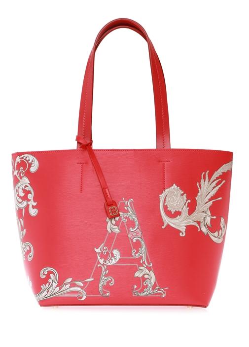 Kırmızı Harf Baskılı Desenli Alışveriş Çantası