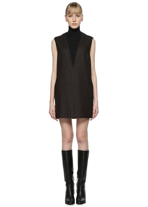V Yaka Kahverengi Ekoseli Mini Elbise