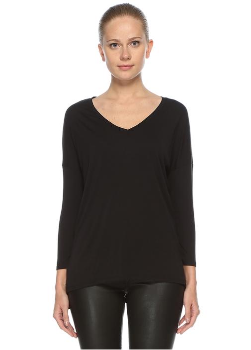 Siyah V Yaka Uzun Kol T-shirt