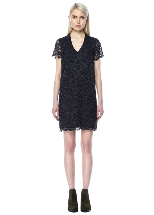 V Yaka Dantelli Lacivert Mini Elbise