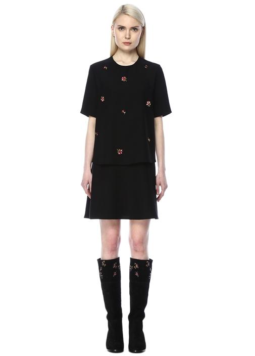 Taş İşlemeli Siyah Mini Elbise