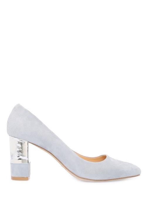 Açık Mavi Kalın Metal Topuklu Ayakkabı