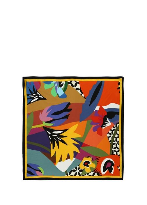 Colorblocked Baskılı 50x50 cm Kadın İpek Eşarp