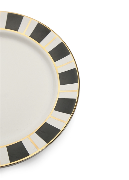 Beyaz Siyah Çizgili Gold Detaylı Seramik Tabak