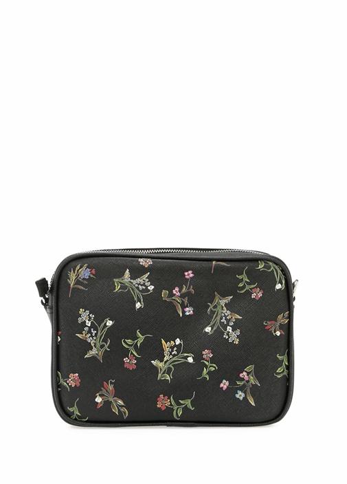 Siyah Çiçek Desenli Kadın Çanta