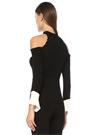 Cooper Siyah Beyaz Dik Yaka Omzu Açık Ribli Bluz
