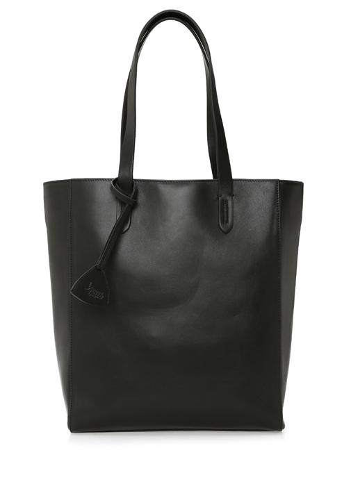 Siyah Kontrast Dikişli Kadın Deri Çanta
